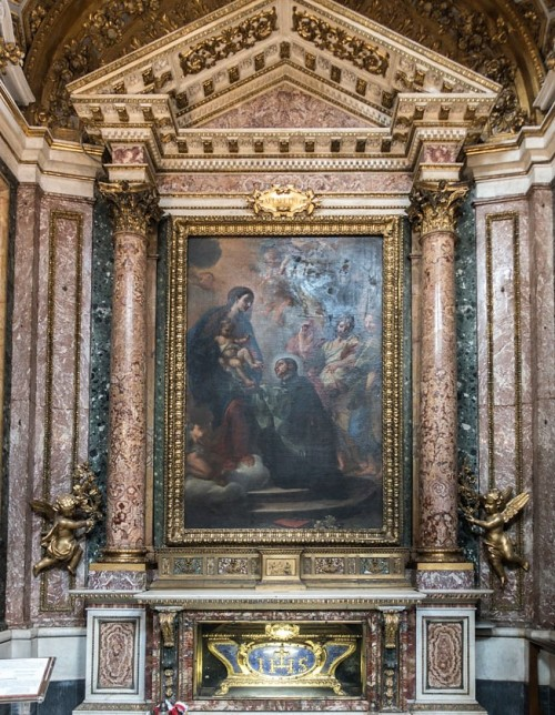 Church of Sant'Andrea al Quirinale, Chapel of St. Stanislaus Kostka, Adoration of Our Lady by the young novice Kostka, Carlo Maratti