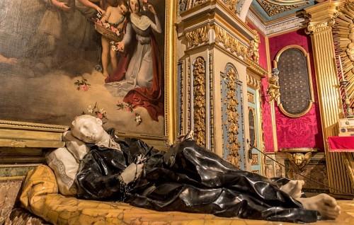 Sant'Andrea al Quirinale, kaplica św. Stanisława Kostki, posąg świętego, Pierre Legros