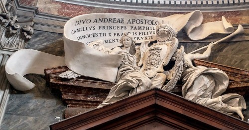 Church of Sant'Andrea al Quirinale, dedicative inscription devoted to the foundation of Prince Camillo Pamphilj