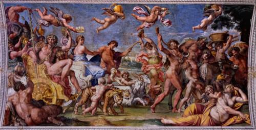 Annibale Carracci, fresk Zaślubiny Bachusa i Ariadny, Palazzo Farnese, sklepienie, scena centralna, zdj. Wikipedia