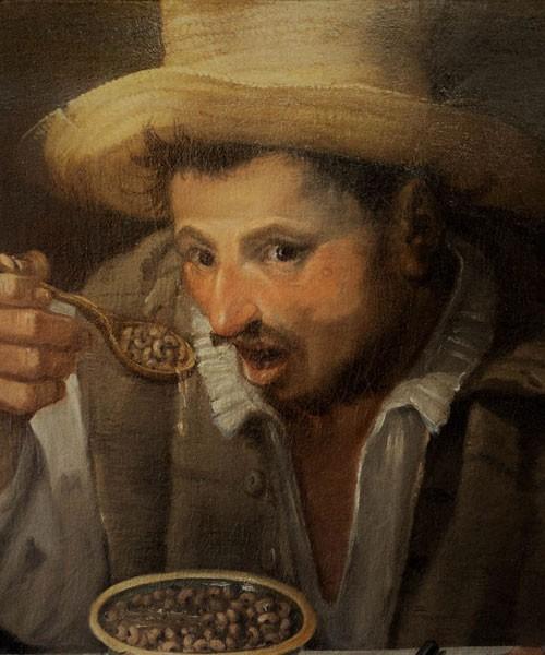 Annibale Carracci, Jedzący fasolę, fragment, Galleria Colonna