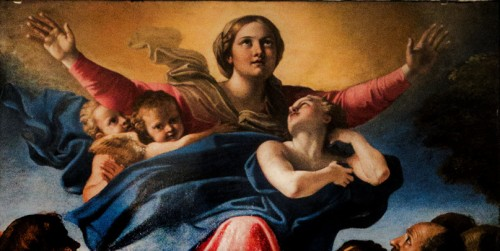 Annibale Carracci, Wniebowzięcie Marii, fragment, bazylika Santa Maria del Popolo