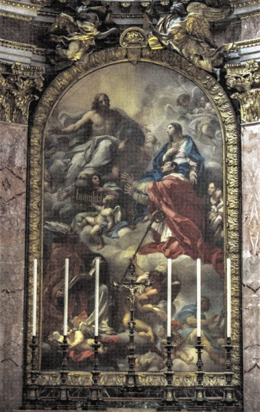 Carlo Maratti,  Adoracja Dziewicy przez śś. Ambrożego i Karola Boromeusza, bazylika San Carlo al Corso
