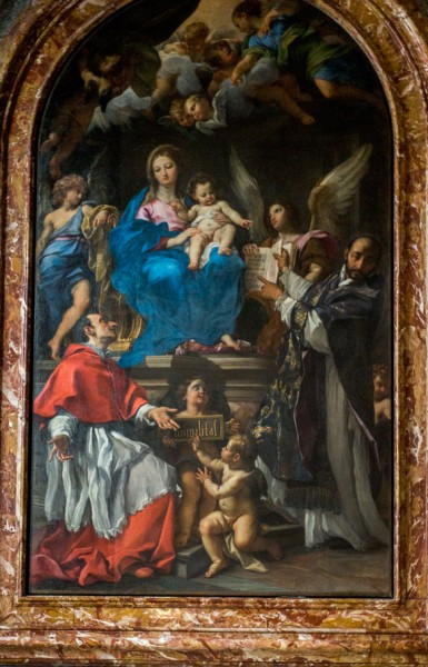 Carlo Maratti, Madonna ze śś. Karolem Boromeuszem i Ignacym Loyolą, kościół Santa Maria della Vallicella