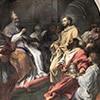 Carlo Maratti, Św. Bernard nakłania  antypapieża Wiktora IV do  podporządkowania się papieżowi Innocentemu II, bazylika Santa Croce in Gerusalemme