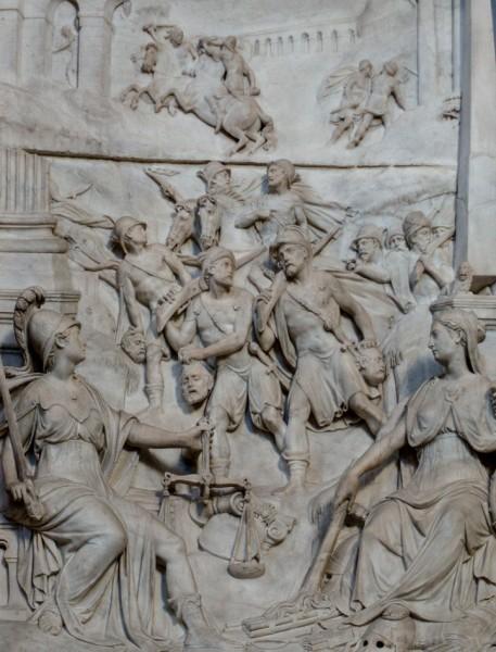 Jeden z reliefów z pomnika Sykstusa V, Łowcy głów, kaplica Sykstyńska, bazylika Santa Maria Maggiore