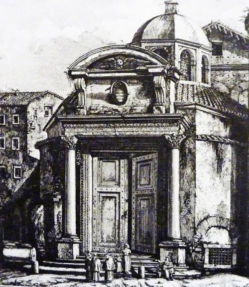 Dawne wejście do kościoła Santi Cosma e Damiano z barokowym przyczółkiem, L. Rossini, ok. 1820 r.