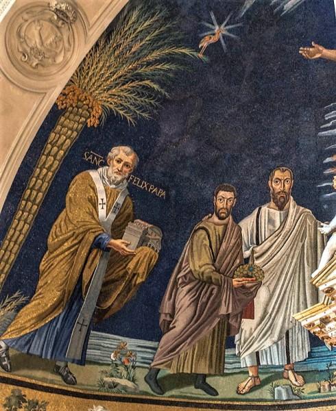 Santi Cosma e Damiano, absyda - papież Feliks IV,  jeden z braci bliźniaków i św. Paweł