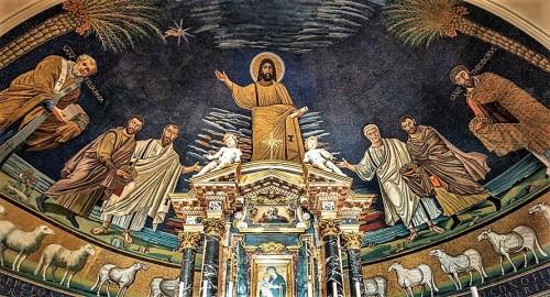 Santi Cosma e Damiano, absyda z Paruzją - Chrystus w otoczeniu świętych Piotra, Pawła, Kosmy i Damiana, papieża Feliksa IV i św.Teodora