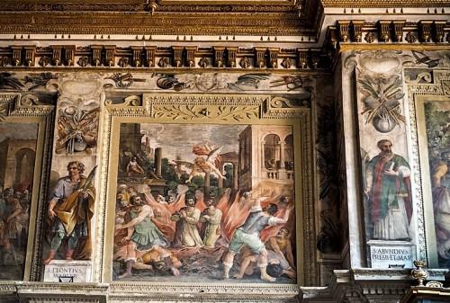 Santi Cosma e Damiano, fryz podstropowy z historią pierwszych męczenników, XVIII w.