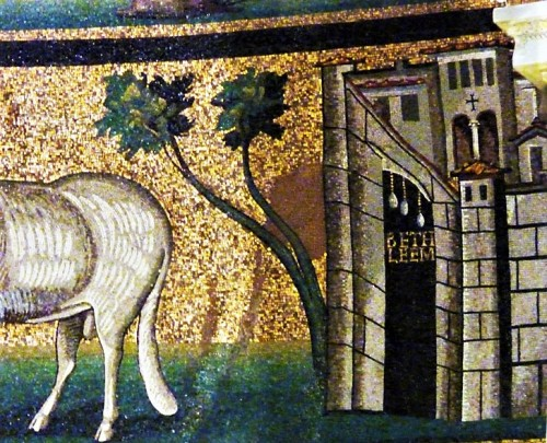Basilica of Santi Cosma e Damiano, apse with mosaics - gate leading to Bethlehem