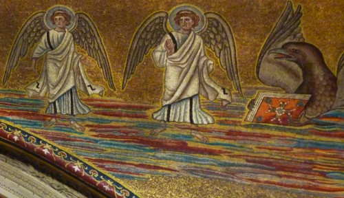 Santi Cosma e Basilica of Cosma e Damiano, mosaics of the church arch from the VII century depicting angels and the symbol of St. John the Evangelist