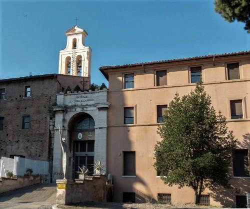 Basilica of Santi Cosma e Damiano, enterance into the basilica created after World War II