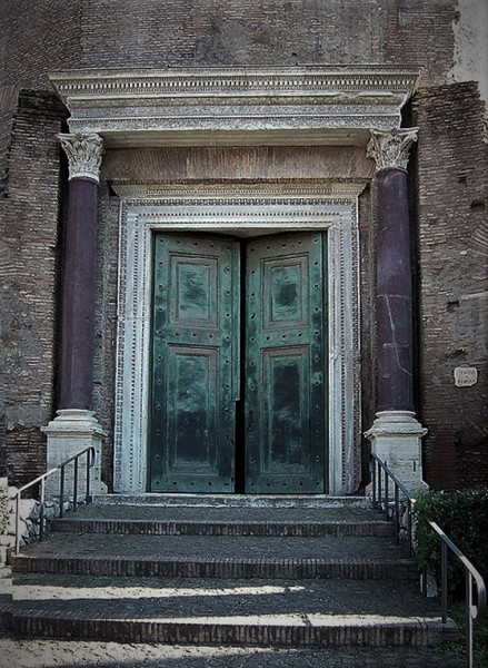 Door into the Temple of Jupiter Stator (Mausoleum of Romulus), in the past a church enterance