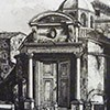 Santi Cosma e Damiano, old enterance to the church with a Baroque abutment, approx. 1820