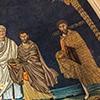 Santi Cosma e Damiano, absyda z mozaikami przedstawiającymi św. Teodora, jednego z braci bliźniaków i św. Piotra