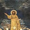 Santi Cosma e Damiano, część środkowa mozaiki absydy - Chrystus między śś. Piotrem i Pawłem