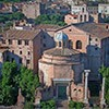 Church of Santi Cosma e Damiano, view from Palatine Hill – two ancient buildings out of which the church was created in early Middle Ages