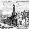 Widok kościoła Santi Cosma e Damiano od strony Forum Romanum, 1665 r., Giovanni Battista Falda, zdj. Wikipedia