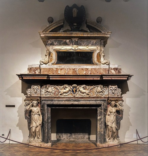 Palazzo Altemps, kominek z herbem rodu Altemps (koziorożec)