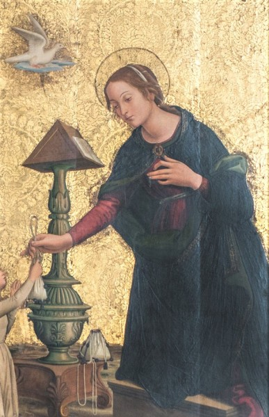 Antoniazzo Romano, Zwiastowanie, fragment, bazylika Santa Maria sopra Minerva