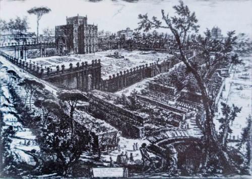 Casino di villa Doria Pamphilj surrounded by the garden and park, drawing of Giambattista Piranesi, XVIII century