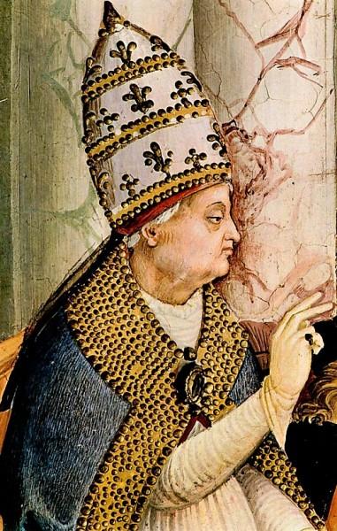 Papież Pius II, fragment fresku, katedra w Sienie, Pinturicchio, zdj. Wikipedia