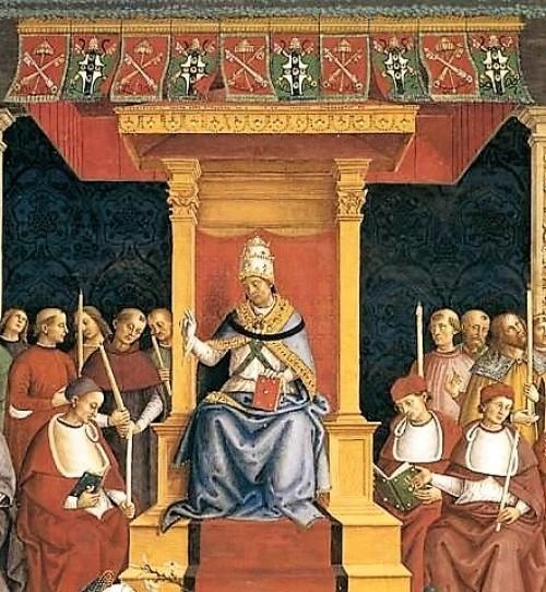 Papież Pius II, fresk, katedra w Sienie, Pinturicchio, zdj. Wikipedia