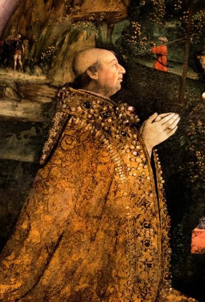 Papież Aleksander VI, fragment fresku Pinturicchio, apartamenty Borgii, pałac Apostolski