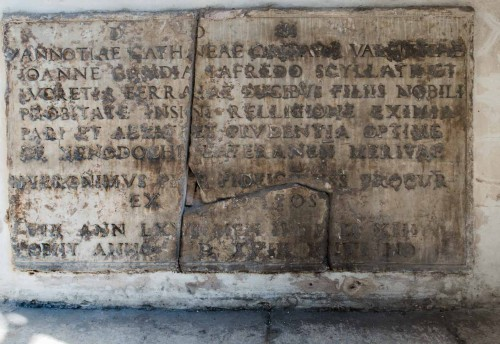 Epitaph for Vanozza Cattanei in the vestibul of Basilica San Marco