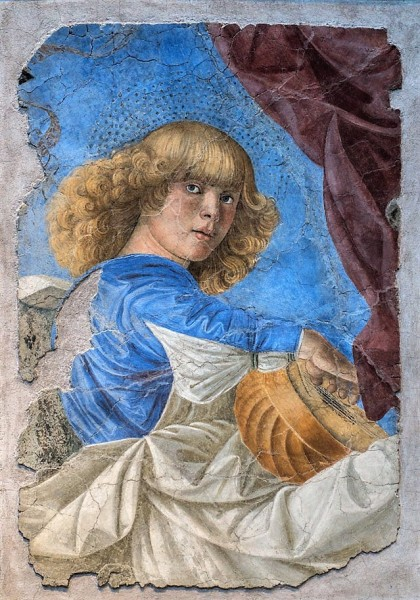 Melozzo da Forlì, jeden z muzykujących aniołów z dawnej absydy kościoła Santi XII Apostoli, obecnie Pinacoteca Vaticana