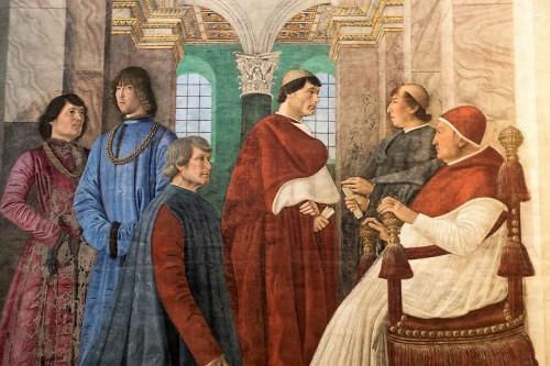 Melozzo da Forlì, Papież Sykstus IV powołuje Bartolomea Platinę na prefekta Biblioteki Watykańskiej, Pinacoteca Vaticana