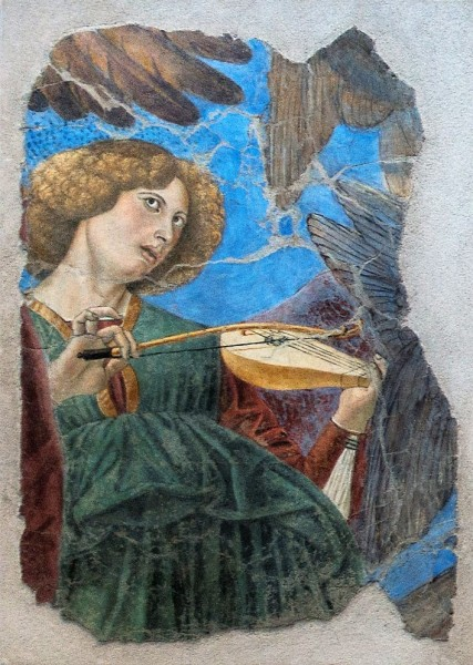 Melozzo da Forlì, jeden z aniołów z dawnej absydy bazyliki Santi XII Apostoli, obecnie Pinacoteca Vaticana