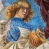 Melozzo da Forlì, jeden z muzykujących aniołów, Pinacoteca Vaticana