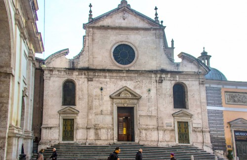 Façade of Basilica Santa Maria del Popolo, one of foundation of Pope Sixtus IV