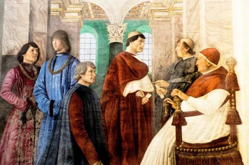 Papież Sykstus IV powołuje Bartolomea Palatinę na prefekta Biblioteki Watykańskiej, fresk Melozza da Forlì, Pinacoteca Vaticana
