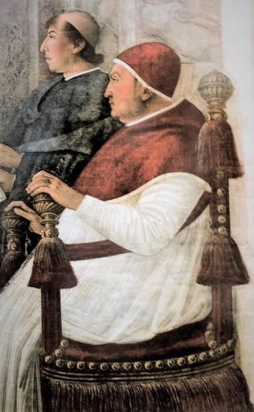Papież Sykstus IV powołuje Platinę na prefekta Biblioteki Watykańskiej, fragment