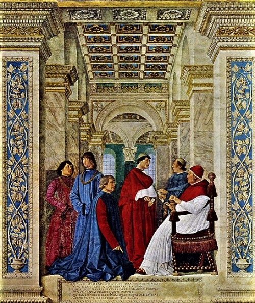 Melozzo da Forlì, Sykstus IV powołuję Bartolomea Platinę na prefekta Biblioteki Watykańskiej, Pinacoteca Vaticana, zdj. WIKIPEDIA