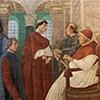 Melozzo da Forlì, Papież Sykstus IV powołuje Bartolomea Platinę na prefekta Biblioteki Watykańskiej