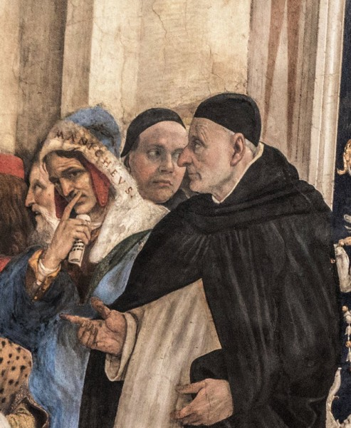 Carafa Chapel, Mani with a finger on his lips (detail), Basilica of Santa Maria sopra Minerva
