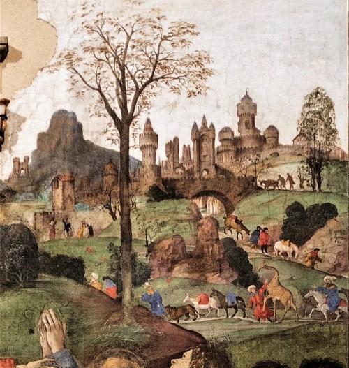 Carafa Chapel, fantasy landscape in the fresco background, Filippino Lippi, Basilica of Santa Maria sopra Minerva