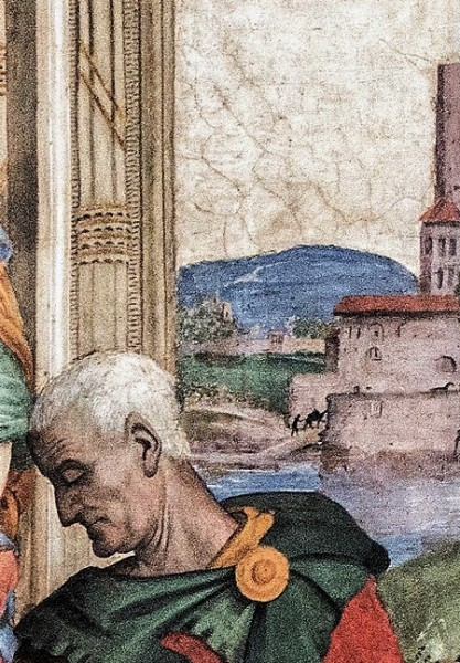Kaplica Carafy, Sabellius i zakola Tybru w tle (detal), Filippino Lippi, bazylika Santa Maria sopra Minerva