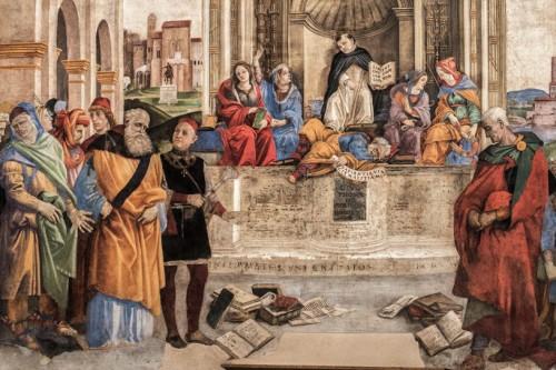 Kaplica Carafy, św. Tomasz i personifikacje Filozofii, Teologii, Dialektyki i Gramatyki (detal), Filippino Lippi, bazylika Santa Maria sopra Minerva