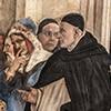 Kaplica Carafy, dominikanin G. Torriani, a obok Mani z palcem na ustach (detal), Filippino Lippi, bazylika Santa Maria sopra Minerva