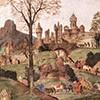 Kaplica Carafy, fantazyjny krajobraz w tle fresku, Filippino Lippi, bazylika Santa Maria sopra Minerva