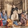 Kaplica Carafy, św. Tomasz z Akwinu, personifikacje nauk i leżący Awerroes, Filippino Lippi, bazylika Santa Maria sopra Minerva