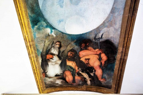 Casino Ludovisi, malowidło Caravaggia, przedstawienie Neptuna i Plutona, fragment