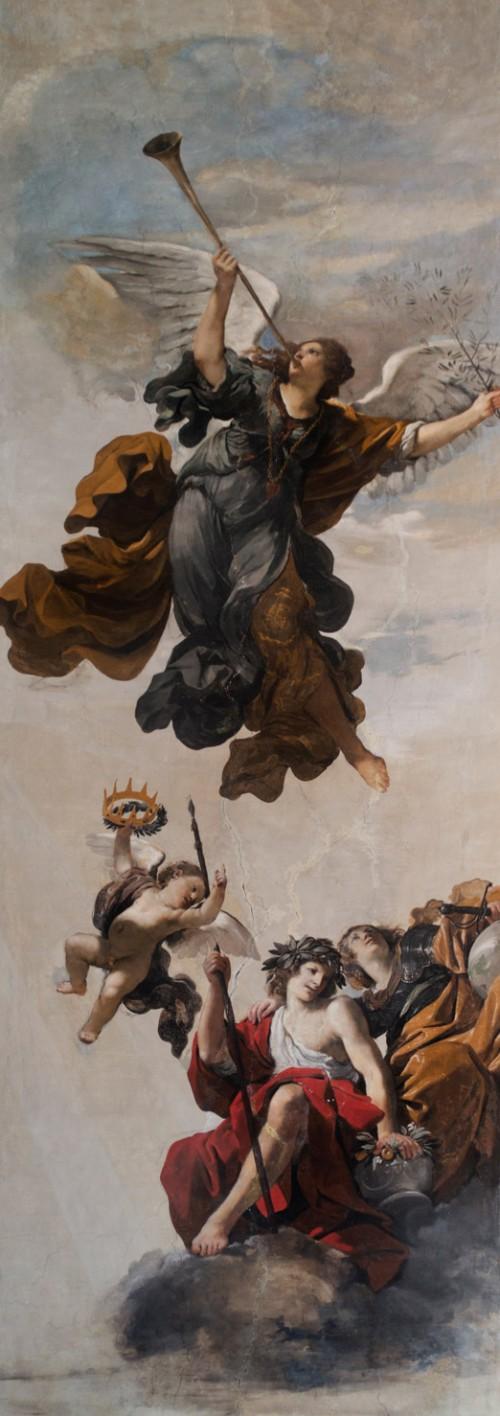 Casino Ludovisi, malowidło stropu - Sława w towarzystwie personifikacji Honoru i Cnoty