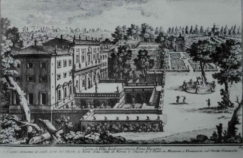 Casino Ludovisi, widok z XVIII w., rycina - Giuseppe Vasi