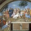 Imperia jako Safona (po lewej), Parnas (Stanze Rafaela),  pałac Apostolski, zdj. WIKIPEDIA